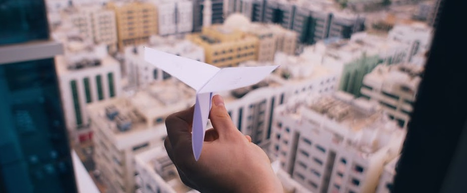 Launch financial marketing paper airplane
