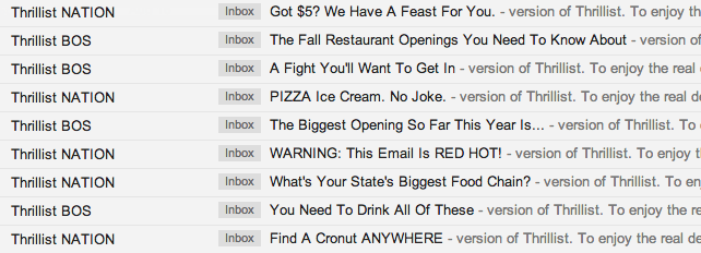 Thrillist subject lines as financial newsletter example