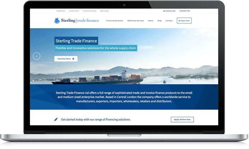 financial marketing screenshot of client Sterling Trade Finance
