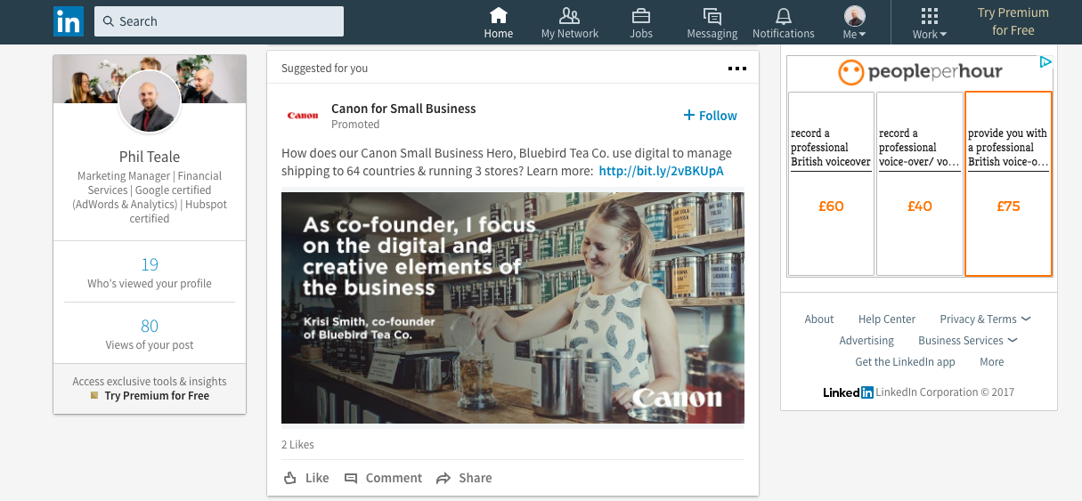 LinkedIn ads used in financial marketing