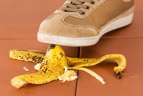 Banana skin on the floor. Showing slip ups in financial marketing