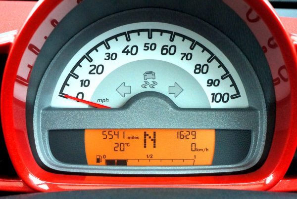 Speedometer, illustrating measuring finance content marketing effectiveness