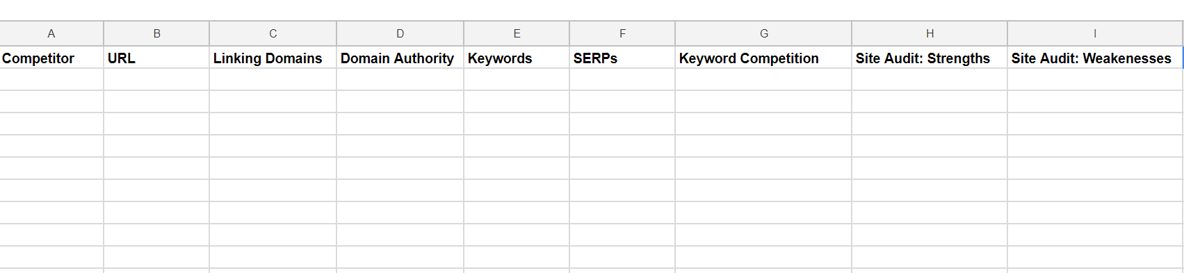 Competitor analysis spreadsheet for financial marketing strategy