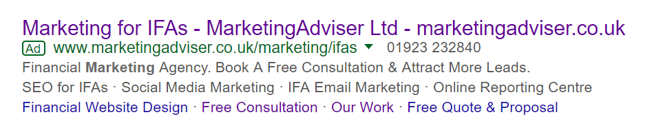 MarketingAdviser AdWords financial marketing example