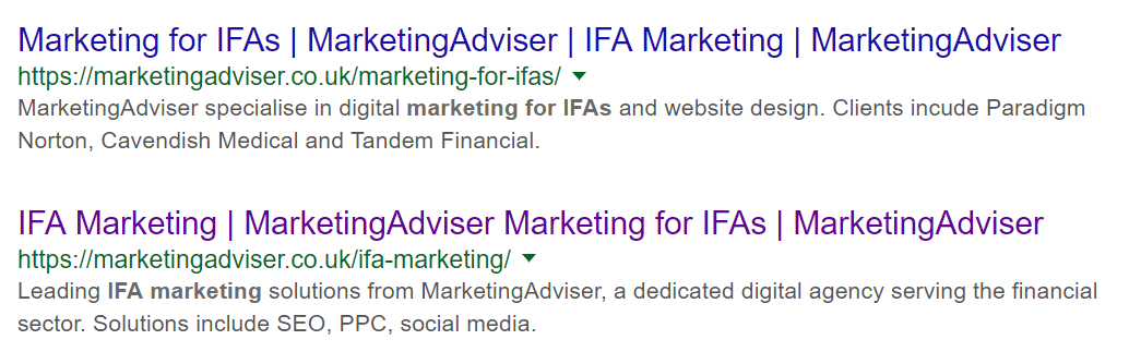 Financial marketing example of MarketingAdviser's organic search results