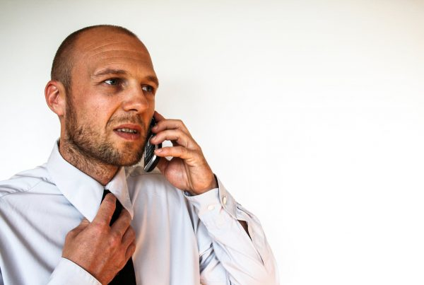 Man having a difficult call about financial marketing