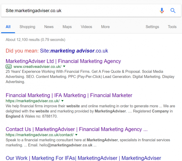 MarketingAdviser site search, illustrating Google marketing for financial advisers