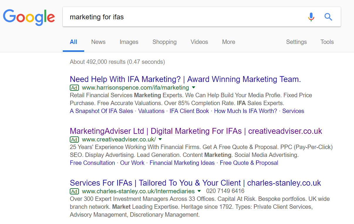 "Screenshot of the Google search term ""marketing for IFAs"""