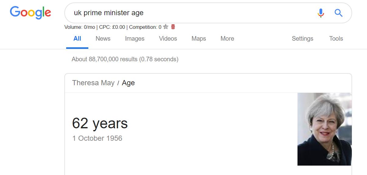 Teresa may age Google search result screenshot